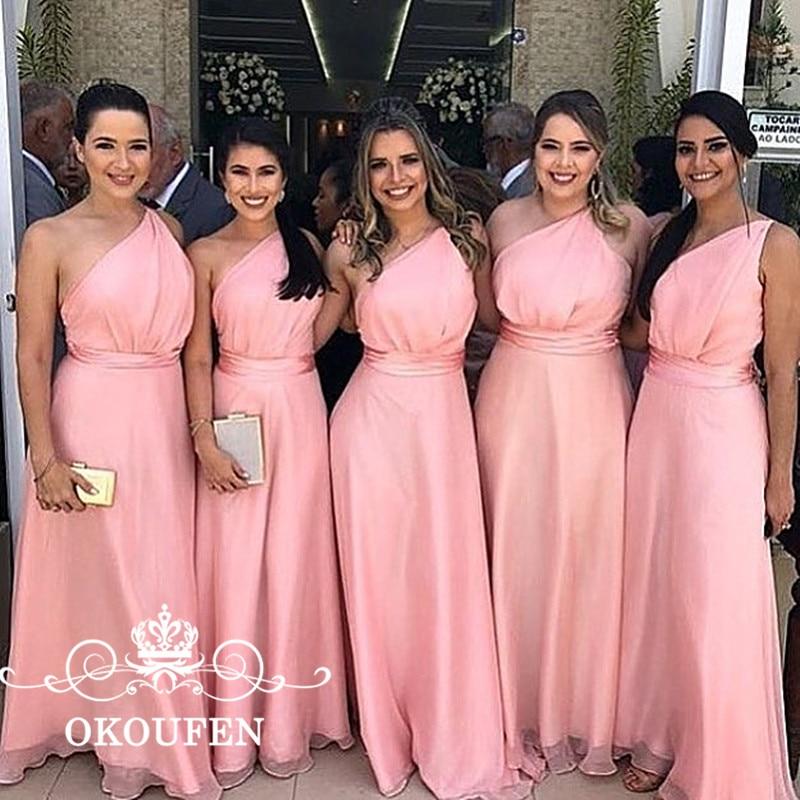 Rose Une Épaule de Demoiselle D'honneur Robes Pour Femmes de Haute Taille 2018 Sans Manches Demoiselle D'honneur Robe Pour la Partie De Mariage Robe UN ligne