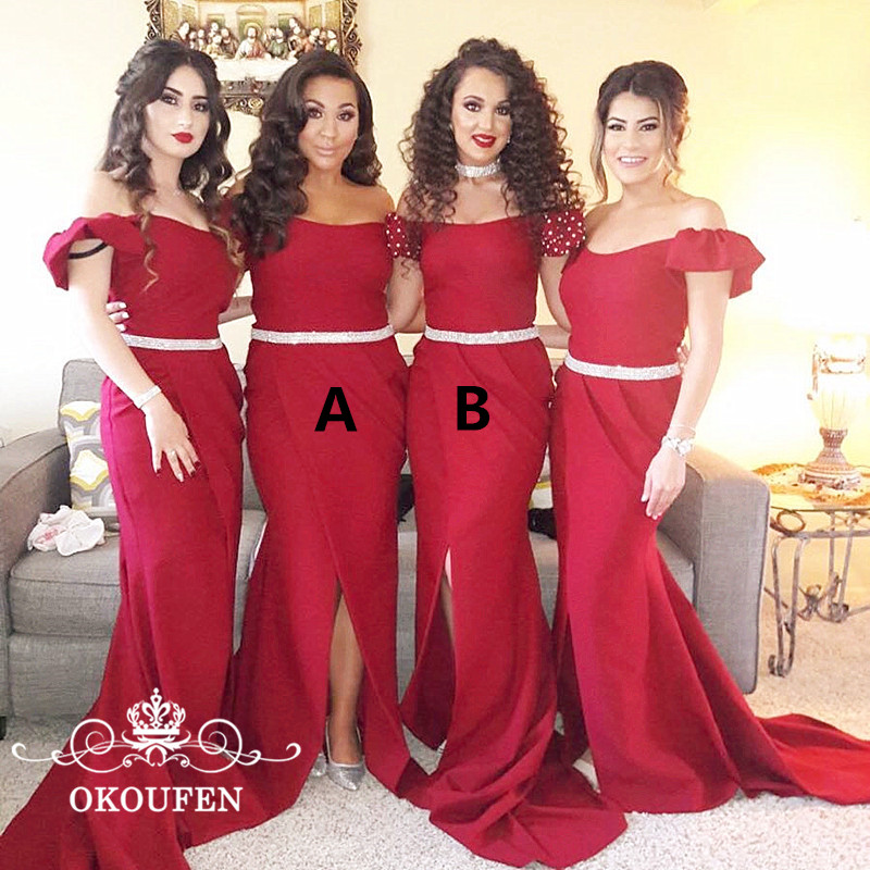 2018 Mermaid   Bridesmaid     Dresses   Capped Sleeves Beads Off Shoulder Long Side Split Red Maid Of Honor   Dress   Party For Women
