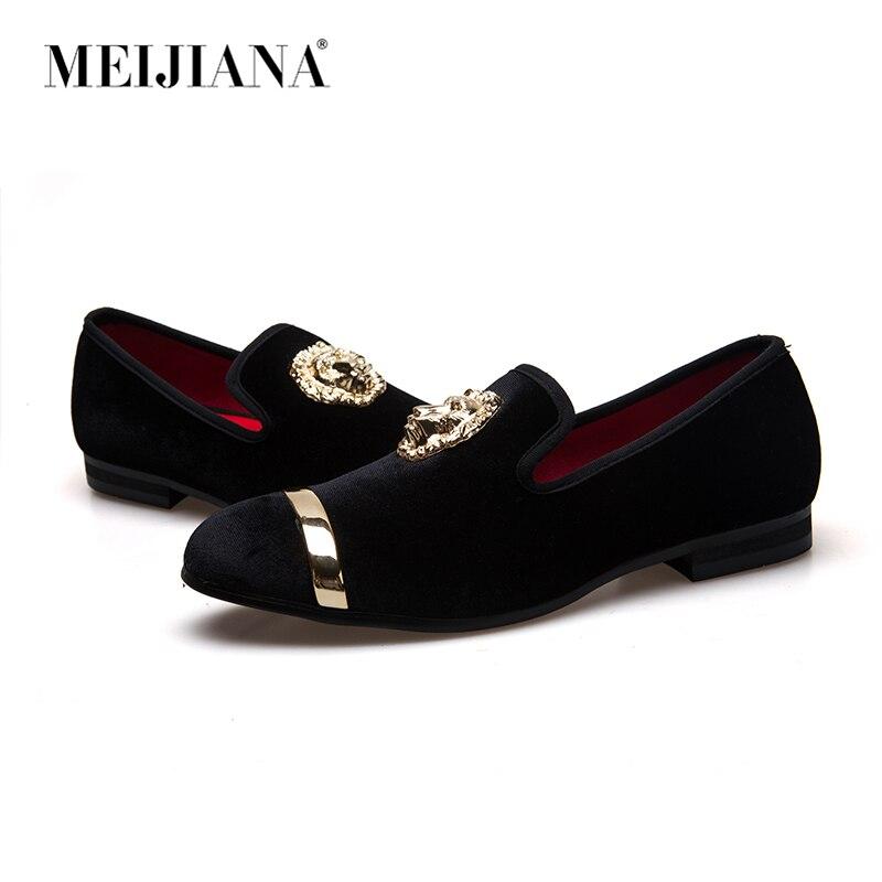 Новые модные золотые топ и с металлическим носком для мужчин бархат итальянские классические туфли s туфли под платье ручной работы лофери