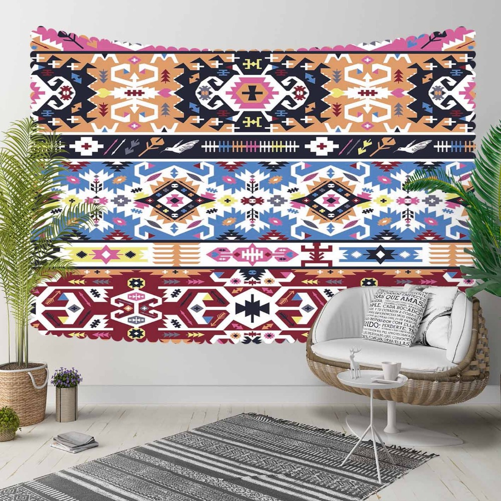 Else Blue Brown Red Persian Authentic Kilim 3D Pattern Print Decorative Hippi Bohemian Wall Hanging Landscape Tapestry Wall Art