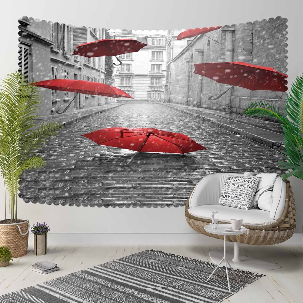Else Gray White Vintage Street Red Umbrellas 3D Print Decorative Hippi Bohemian Wall Hanging Landscape Tapestry Wall Art