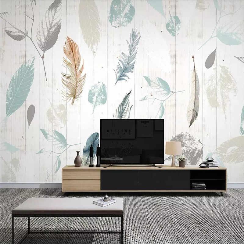 Nordic roślin liść z piór nowoczesny minimalistyczny drewna ziarna tło telewizora ściana profesjonalne niestandardowe wysokiej klasy mural fabryki hurtownia w