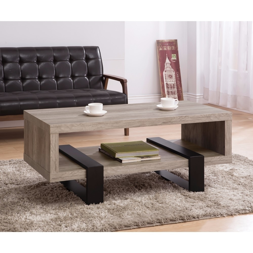 Modern Driftwood Open Shelf Coffee Table, Gray and Brown reflection spectroscopy shelf mount open pg207 15 to 50 70 100