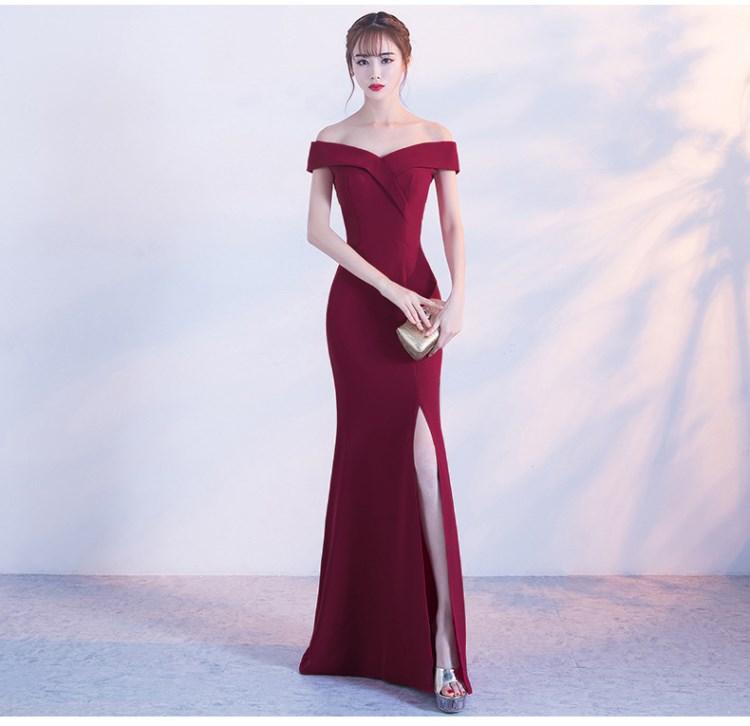 Off Shoulder Burgundy evening dress girls wedding party Dress prom gown Dubai Long zipper bridal Dresses slit Robe De Soiree(China)