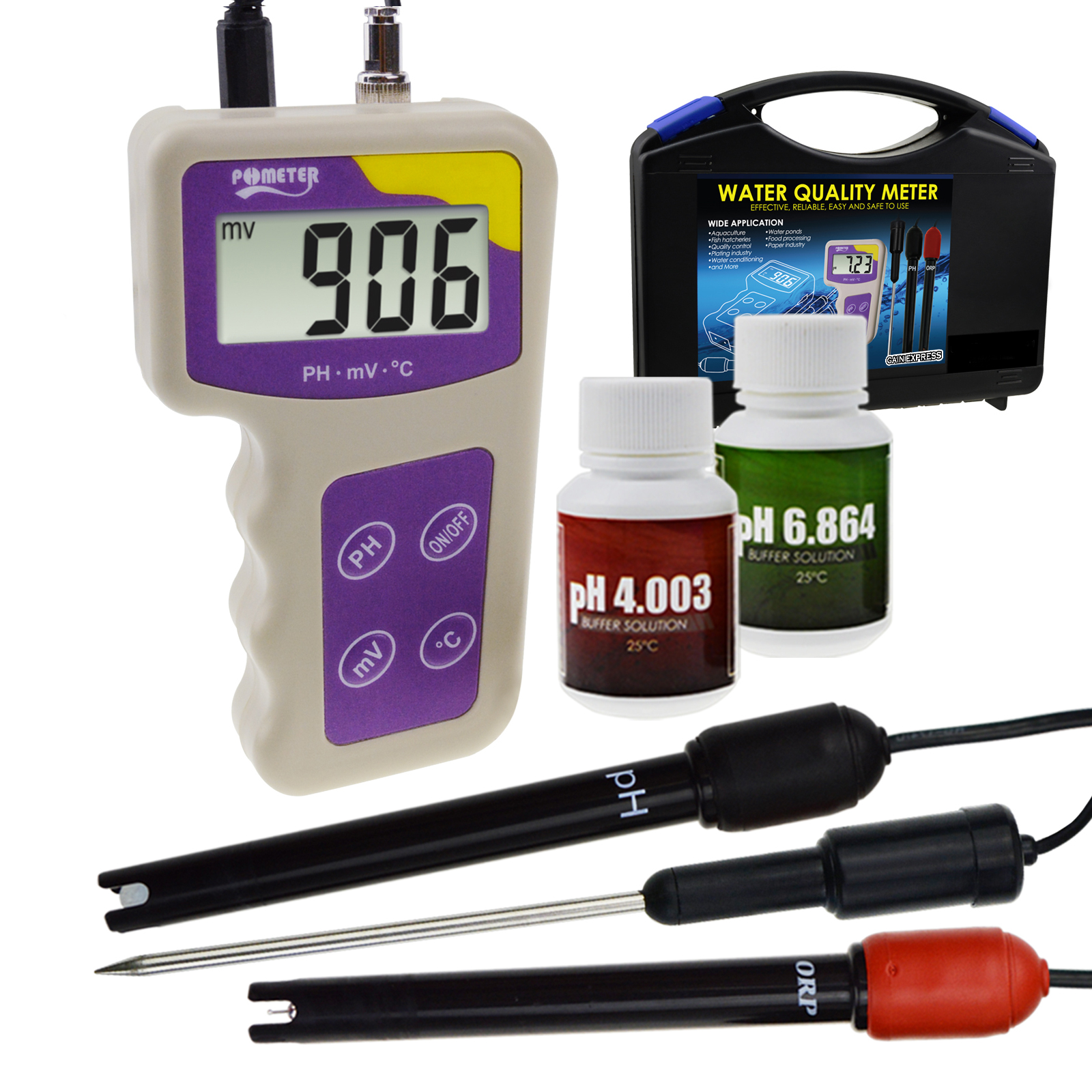 3 in 1 pH mV ORP Temperature Redox Meter Water Quality Tester Thermometer Analysis Analyzer Removable