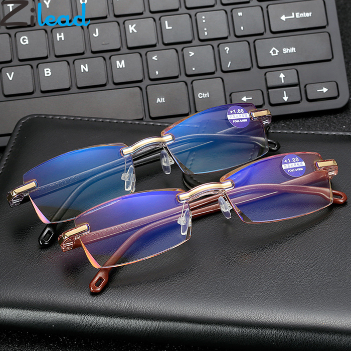 Zilead Ultralight Rimless Blue Light Reading Glasses Men Business Anti-fatigue Resin Computer Presbyopic Glasses For Women&Men