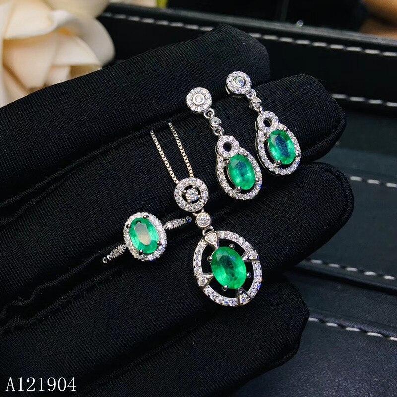 KJJEAXCMY boutique bijoux 925 en argent sterling incrusté naturel bijoux émeraude femme pendentif bague boucles d'oreilles ensemble test de soutien