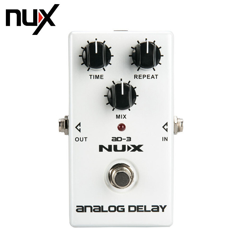 NUX AD-3 New Arrival Guitar Effects Pedal Analog Delay Effect 300ms Max Delay Time Warm Echoes Sound True Bypass Free Shipping new diy analog delay 1 pedal kits with 1590b diecast aluminium box free shipping