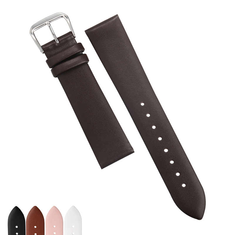 EACHE 12/14/16/18/20/22mm Real Leather Watchband Ultrathin Smooth Softly Genuine Leather Women's Men's Watch Band strap