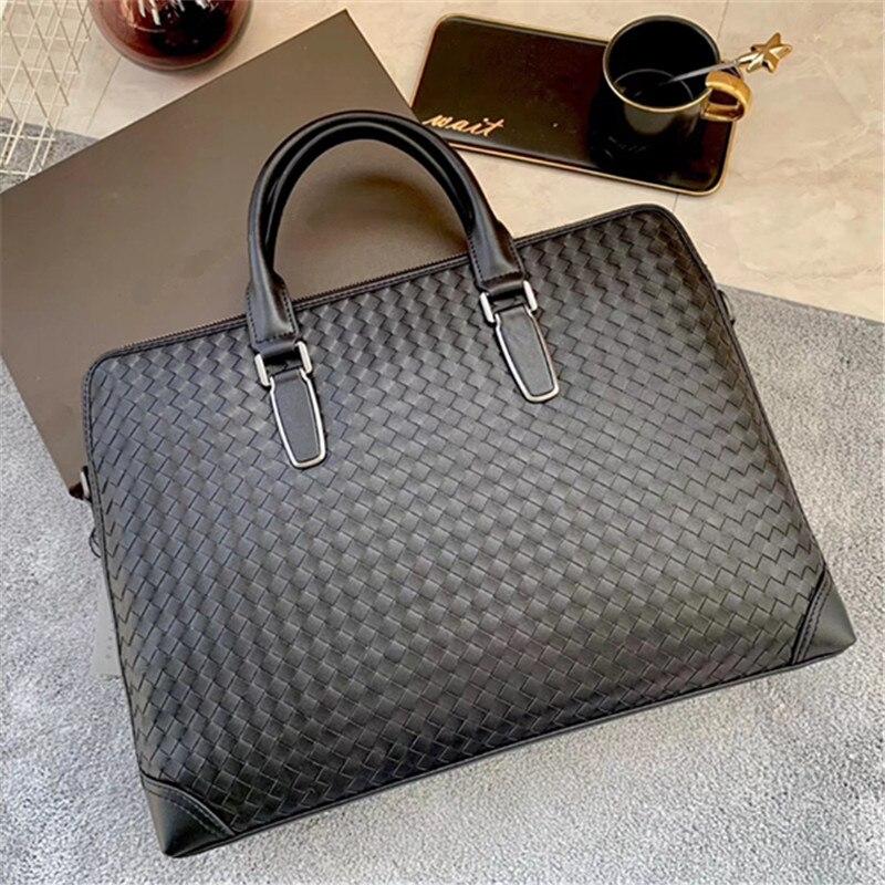 Kaisiludi Leather Woven Men's Bag Handbag Business Men's Briefcase Double Pull Computer Bag Large Capacity Single-shoulder Bag F