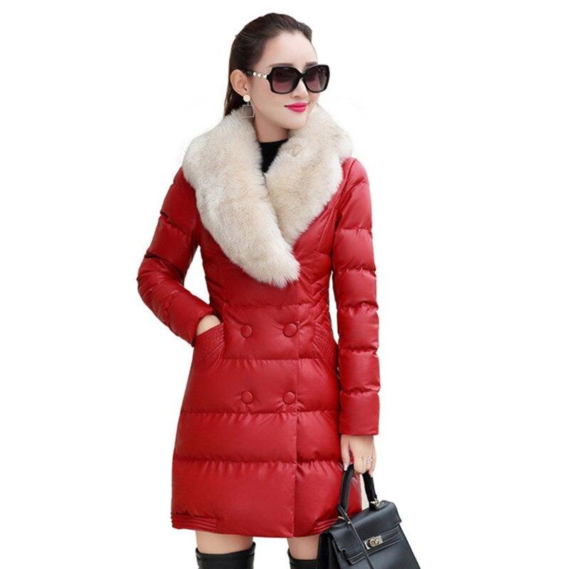 Nuovo inverno del cotone delle signore giacca lunga sezione donne calde giacca collo di Pelliccia di modo elegante di alta qualità