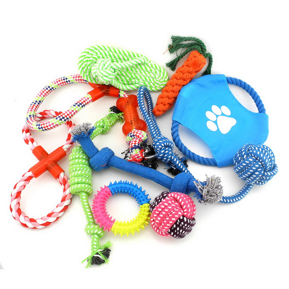 2017 Medium Large Dog/Cat 10 Pack Bundle of Roy Set Tug-o-War Ball Toys on Rope for Aggressive Chewers