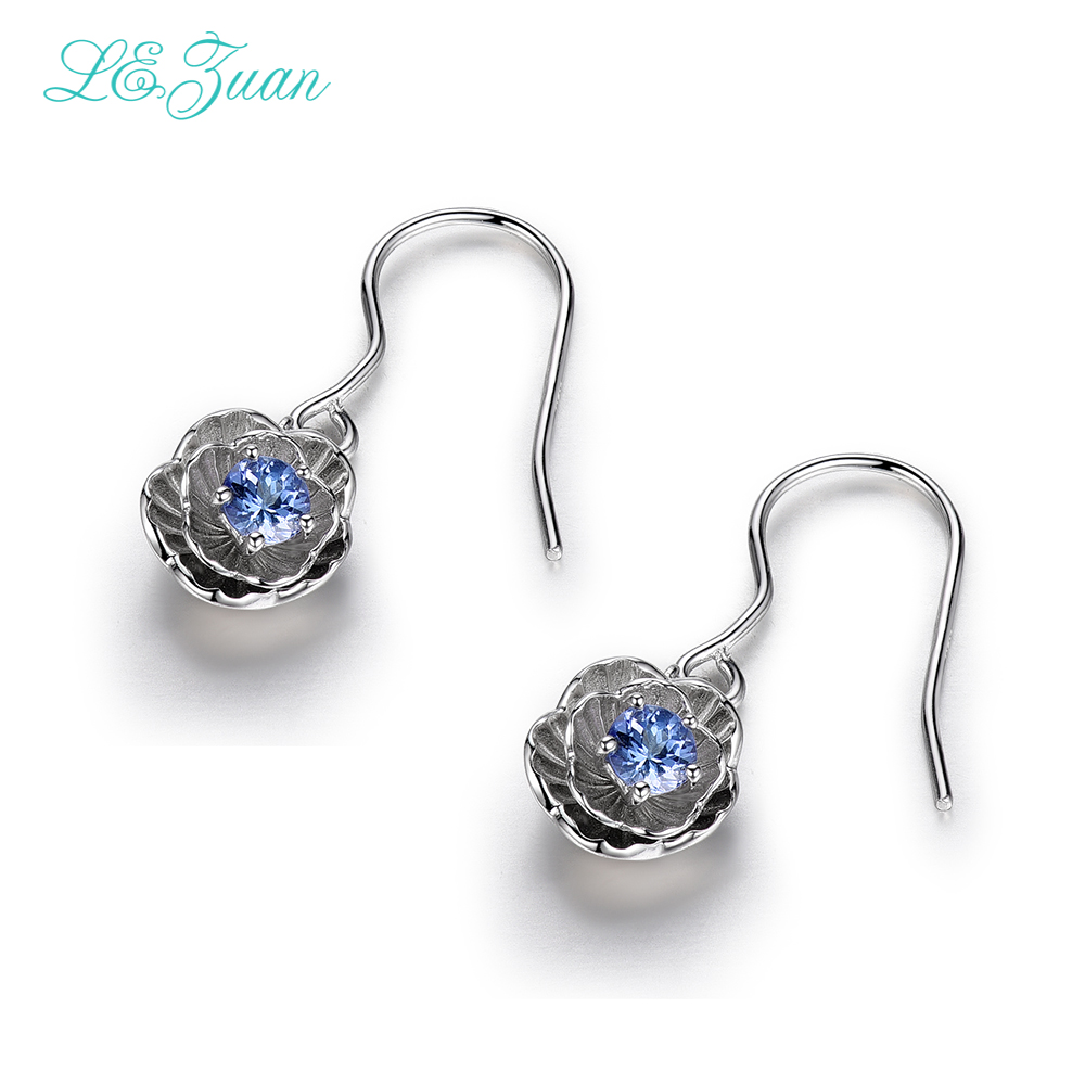 I&zuan Wedding Jewelry For Women 02ct Natural Tanzanite Romantic Lotus  Flower Drop Earrings 925 Sterling