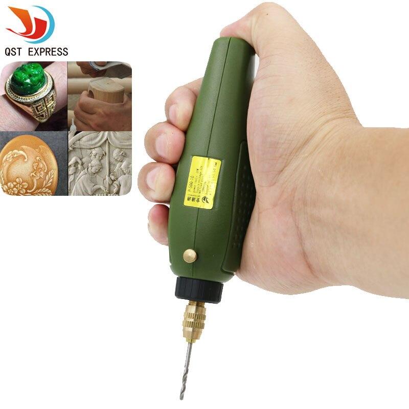 QSTEXPRESS Super Mini Rettifica Elettrico Set 12 V DC Trapano Strumento Grinder per Fresatura Taglio Incisione Lucidatura di Perforazione