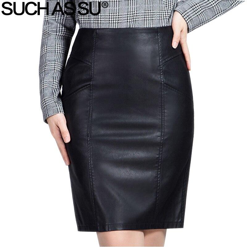 f63444aa2 Como SU nueva moda 2018 invierno PU falda de cuero mujeres negro alta  cintura trabajo falda lápiz ...