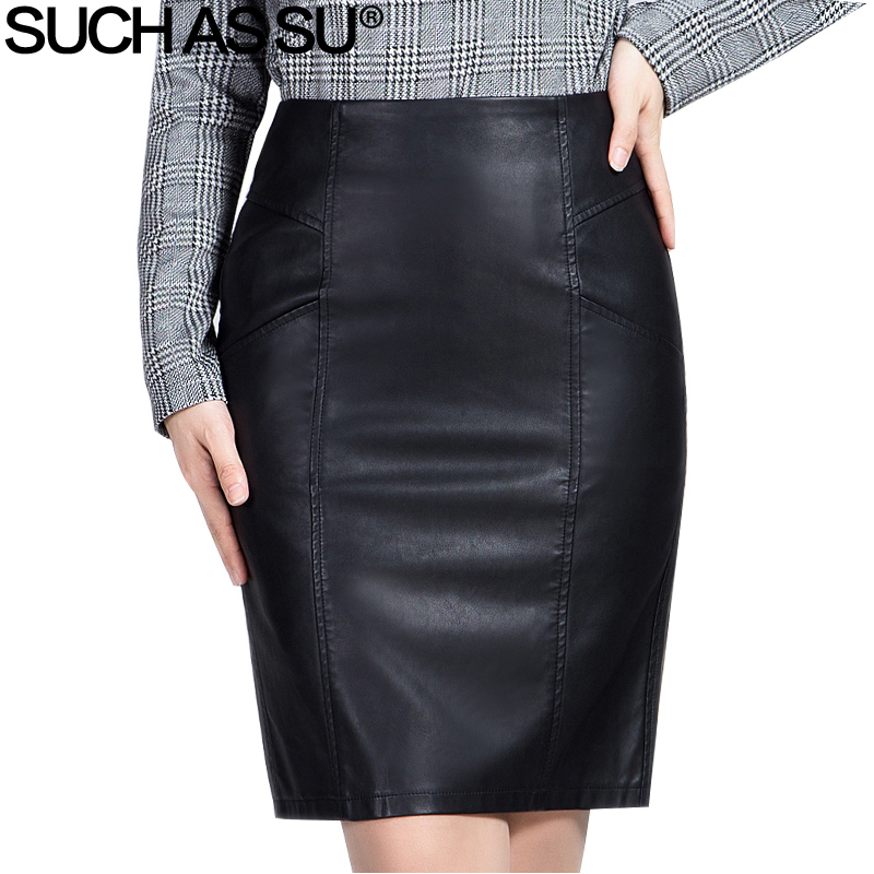 SUCH AS SU New Fashion 2018 Winter PU Leather Skirt Women Black High Waist Occupation Work Pencil Skirt S-3XL Size Autumn Skirt