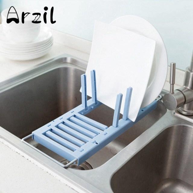 Dish Rack Sink Draining Cups Kitchen Retractable Stainless Steel Plastic  Vegetable Fruit Dry Feeding Bottle Holder