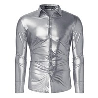 2017 Shirt Men Shiny Casual Black Golden Silver Slim Luxury Long Sleeve Shirts Leisure Fashion Shine