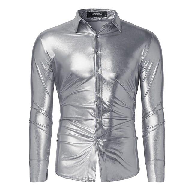 2017 Shirt Men Shiny Casual Black/Golden/Silver Slim Luxury Long ...