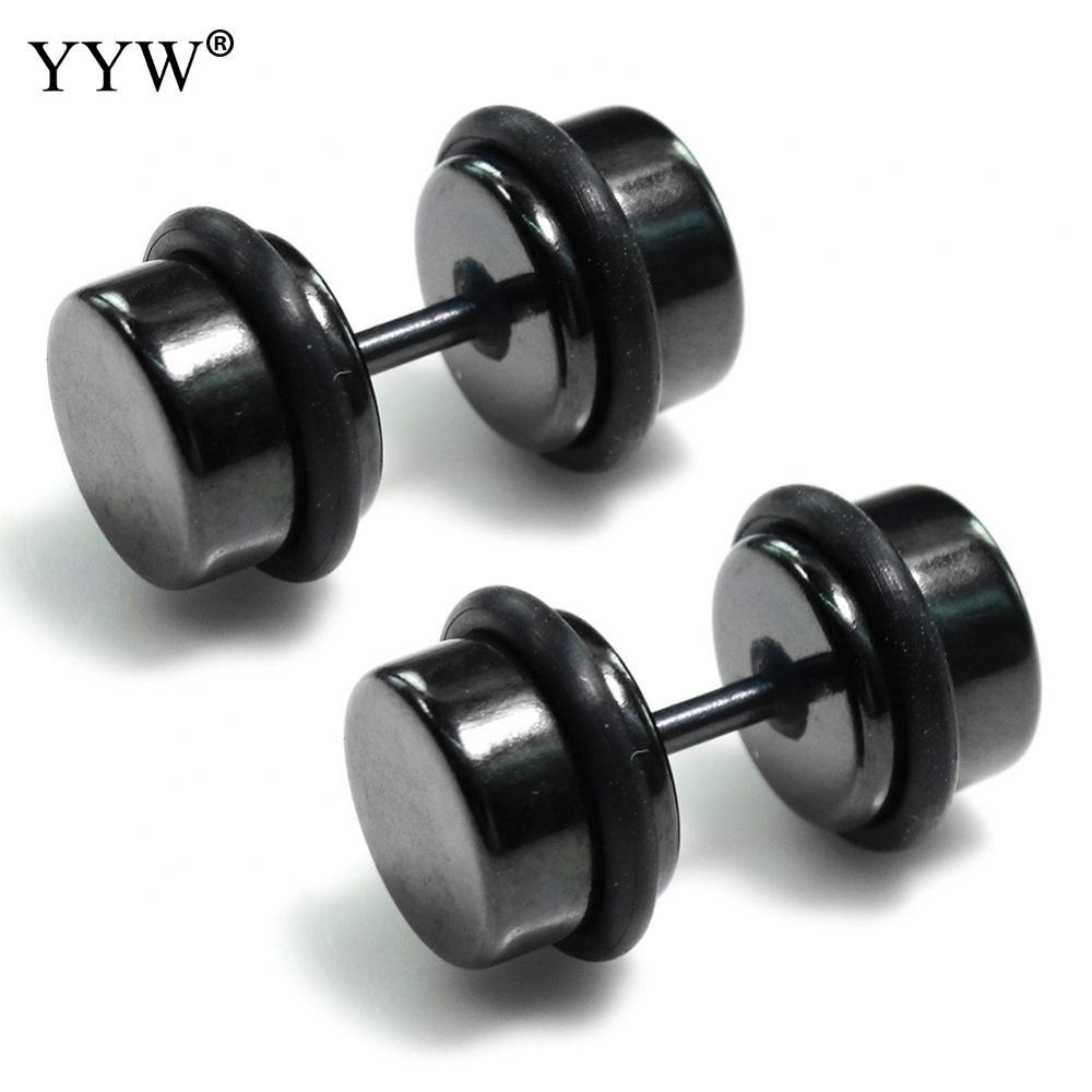 YYW 1pc European Punk Rock Male Men Women Small Lovely 8/10mm Barbell Black Stainless Steel Ear Piercing Jewelry Stud Earrings
