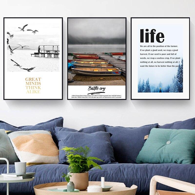 Nordic Минималистский Pier судно сцена холст для живописи Плакаты и принты, гостиная домашнего декора стены искусства фотографии, без рамки. SID124