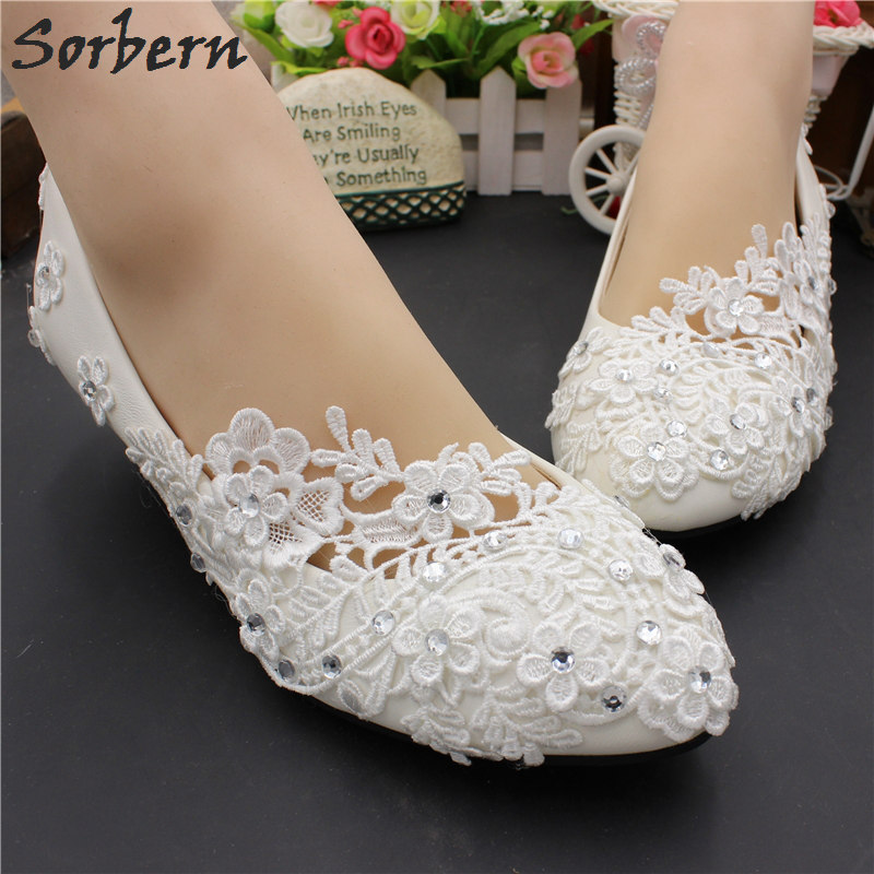 Sorbern Elegant Low Wedding Shoes Lace Flowers Handmade