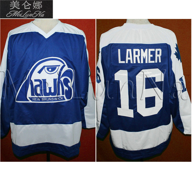 MeiLunNa Custom AHL New Brunswick Hawks Hockey Jerseys Jack O'Callahan Darryl Sutter 16 Steve Larmer Sewn On Any Name NO. Size