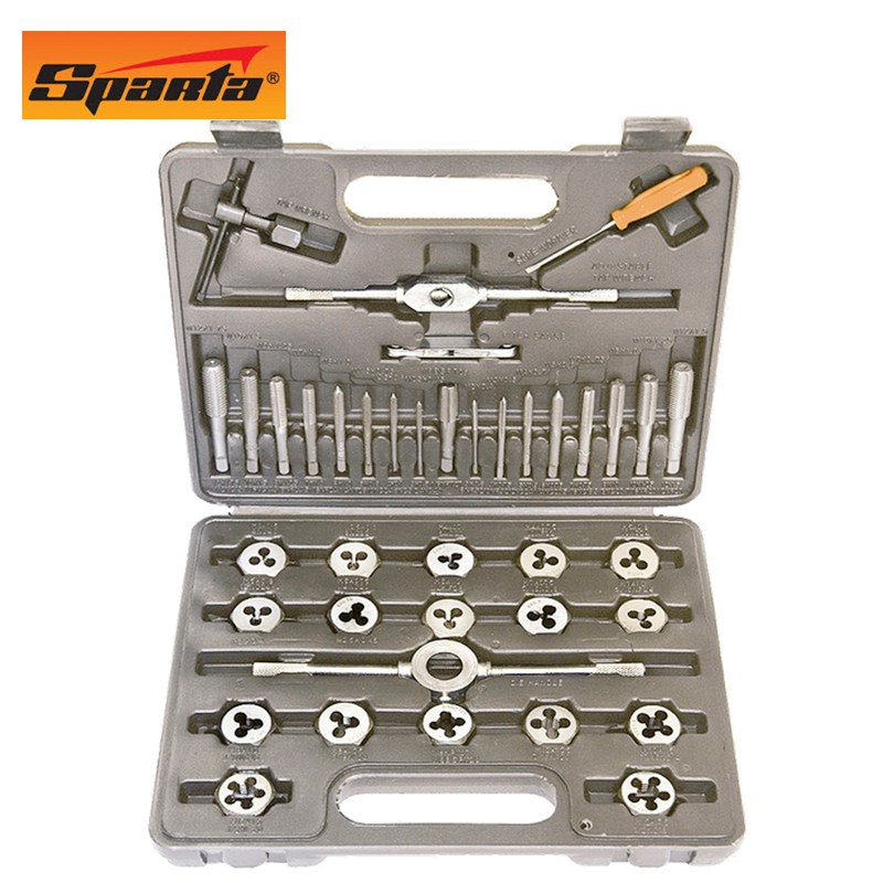 Set of taps and dies SPARTA 773155 granville hardware tools 12 sets of tap wrench tap die set hand taps dies w0440