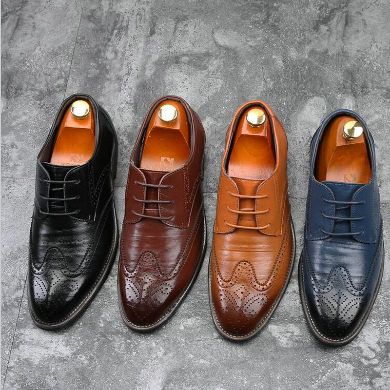 Luxury Brand Men Oxfords Shoes Wedding Party Brogue Shoes Men Dress Shoes Genuine Leather Formal Business Shoes BIG Size LE-31