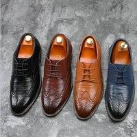 Luxury Brand Men Oxfords Shoes Wedding Party Brogue Shoes Men Dress Shoes Genuine Leather Formal Business shoes BIG size LE 31