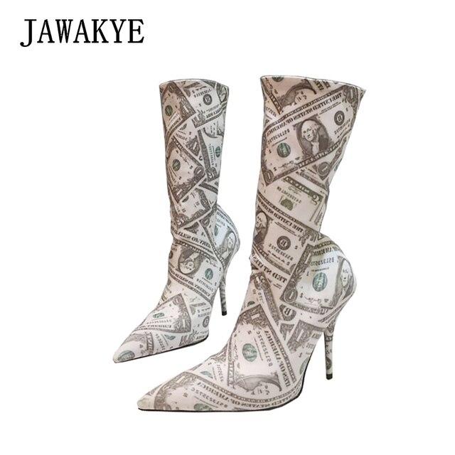 ac10bef8174e JAWAKYE Elastic 10CM high heels Runway sock shoes woman Pointy toe Stretch  autumn Short booties Print dollar socks boots women