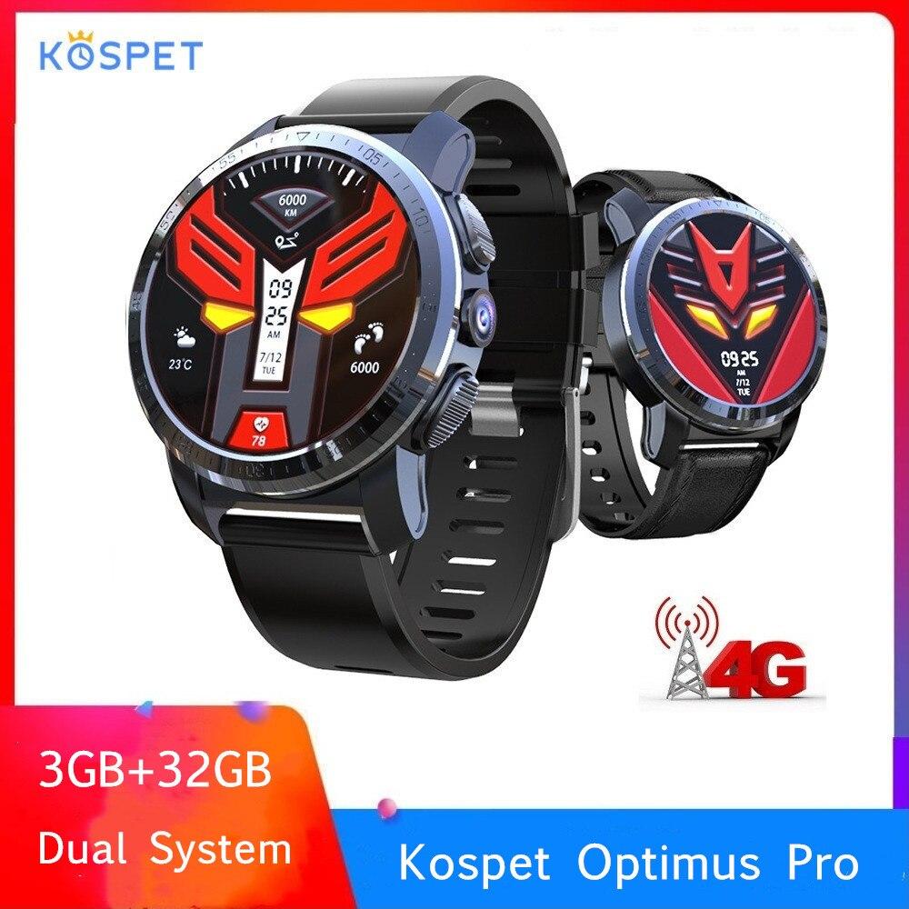 Kospet Optimus Pro Sistema Dual 4G Smartwatch Android 7.1 Esportes Câmera 8.0MP 32 3GB de RAM GB ROM Inteligente assistir 800mAh WiFi GPS