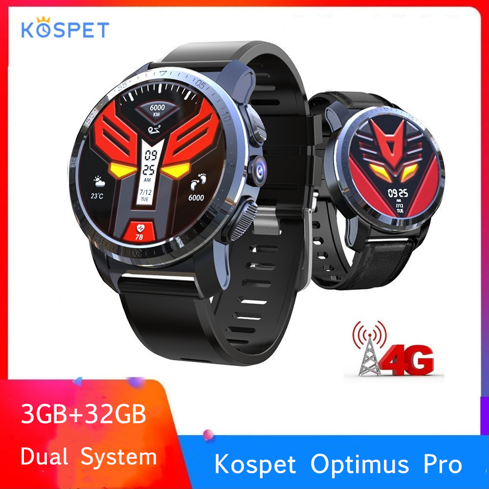 Kospet Optimus Pro double système 4G Smartwatch Android 7.1 Sports 8.0MP caméra 3GB RAM 32GB ROM montre intelligente 800mAh WiFi GPS