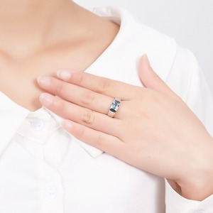 Image 3 - Lp Topaz Princess Cut 1.34 Karaat Vrouwen Ring Massief Zilver 925 Natuurlijke Edelsteen Ring Fijne Sieraden Anillos Plata 925 para Mujer