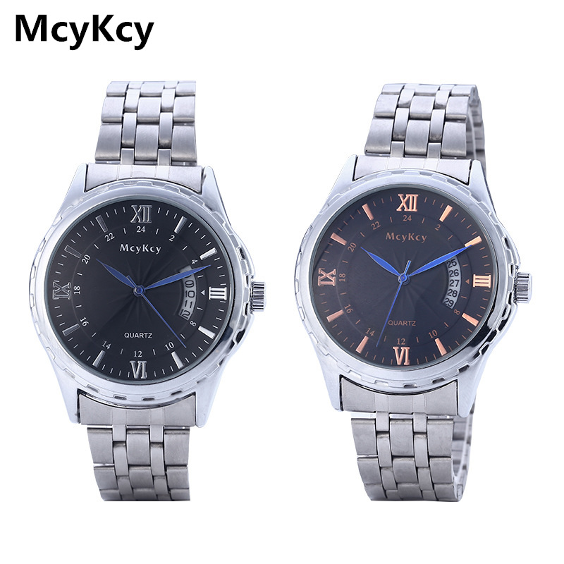 McyKcy Men's Military Wrist Watch Top Brand Luxury Famous Mens Watches Calendar Full Steel Male Clock Quartz Watch Man Relogio цена
