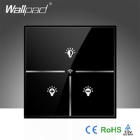 New Arrival Wallpad Tempered Glass UK 110~250V Wireless Wifi Remote Dimmer Light Controll WIFI Electrical Switch, Free Shipping