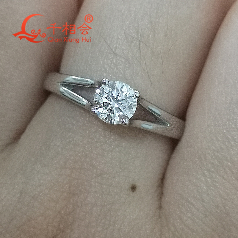 925 Sterling Silver Rings with 5mm round shape best qaulity cubic zirconia stone 4 claws for Women wedding Jewelry in Engagement Rings from Jewelry Accessories