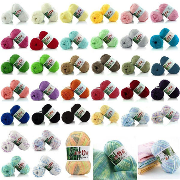 Sale hot 50g Soft Baby Natural Crochet Bamboo Cotton Hand Knitting Yarn 55 color