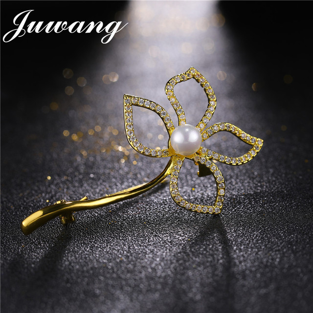 JUWANG Luxury Flower Brooches For Women Shiny CZ Brooch Jewelry For Wedding Bouquets Lapel Pins Brooches Wholesale