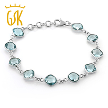 Gemstoneking 23.00 CT Cojines corte 9mm natural Topacio Azul 925 Gemstone birthstone pulsera para las mujeres