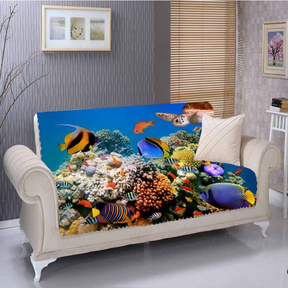 Sinon Tropical bleu sous mer Aquarium poissons 3D impression salon résistant aux taches imprimé meubles protecteur siège canapé couverture