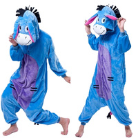 Cartoon Animal Cosplay Cute Donkey Pajamas Jumpsuit Hoodies Adults Cos Costume For Halloween