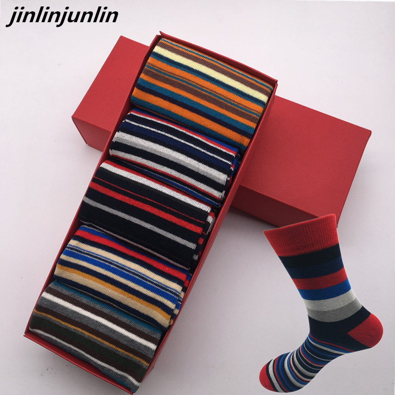 The latest casual men's socks color stripes five pairs of socks cotton gift box US (7-14) , EUR(39-48