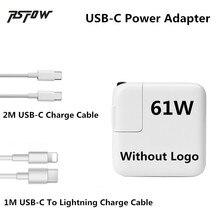 """USB-C RsFow 61 W 2 M Cabo do Carregador Adaptador de Alimentação Para Macbook Pro 12 """"13"""" com 1 M Tipo-C para Cabo Relâmpago Para o iphone X 8 7 6 Mais"""