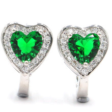Ravishing Heart Shape Green Emerald Natural White CZ 925 Silver Earrings 14x10mm