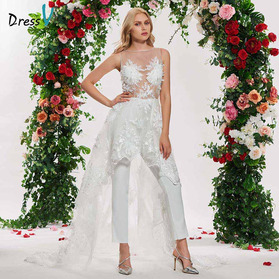 Dressv elegant irregual lace stitching wedding dress scoop neck sleeveless lace floor length simple bridal gonws wedding dresses-in Wedding Dresses from Weddings & Events