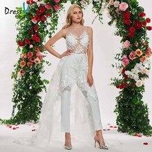 Vestido de noiva elegante, vestido de casamento com renda irregual, com gola, sem mangas, com renda, simples