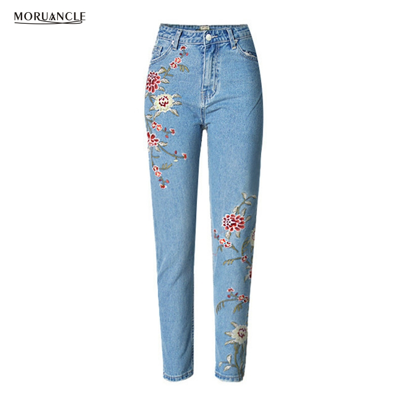 moruancle 2017 new womens ripped wide leg jeans pants distressed flare denim trousers with holes high waist boot cut size s xxl MORUANCLE Hot Sale Fashion Womens Flower Embroidered Jeans Pants High Waist Denim Trousers With Floral Embroidery Size 34-46