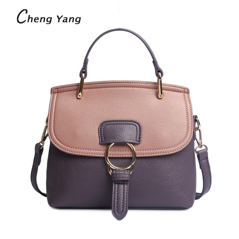купить CHENGYANG Designer Panelled Solid Women Handbags Ring Totes Quality Lichee PU Shoulder Bag Female Candy Colorful Messenger Bags дешево