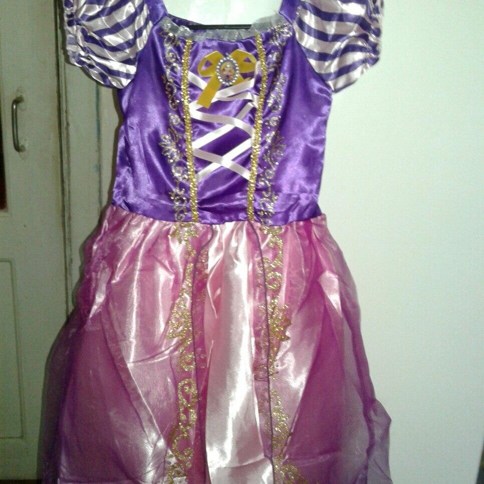 MUABABY Girls Rapunzel Dress Up Kids Snow White Princess Costume Children Cinderella Aurora Sofia Halloween Party Cosplay Dress